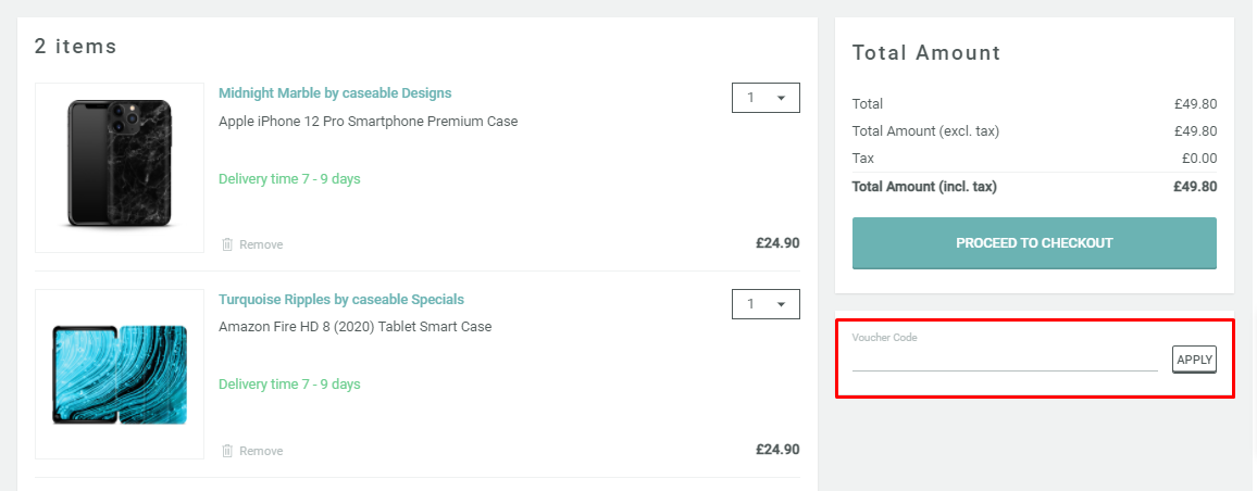 How do I use my caseable voucher code?
