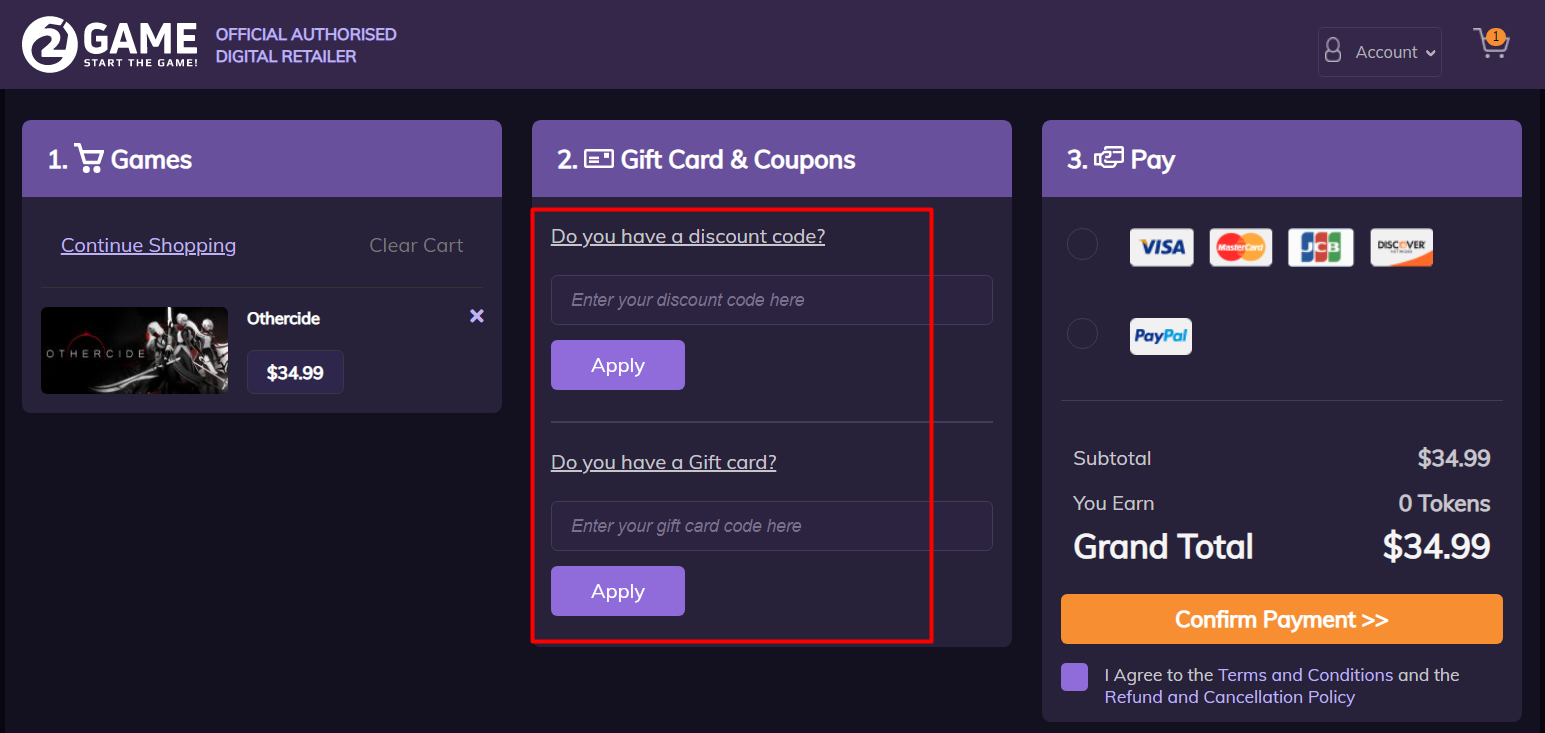 How do I use my 2Game discount code?