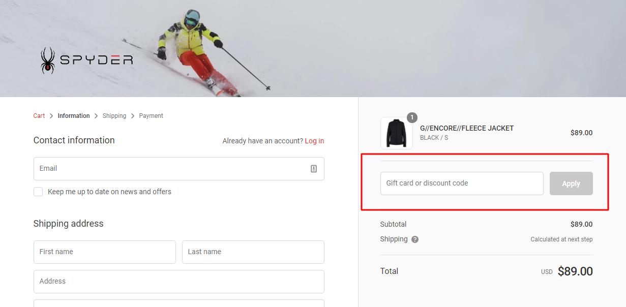 How do I use my SPYDER discount code?