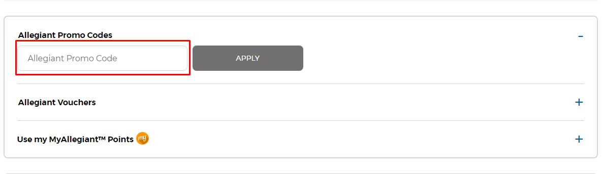 How do I use my Allegiant promo code?