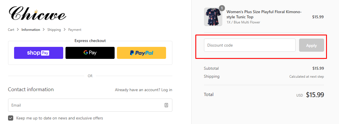 How do I use my Chicwe discount code?