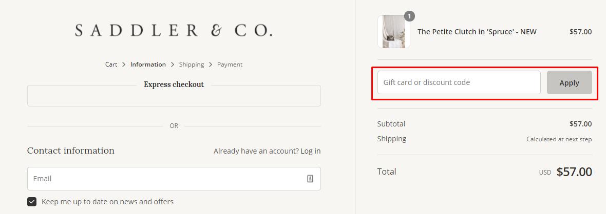How do I use my Saddler & Co discount code?