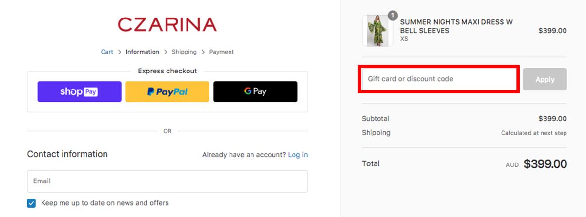Czarina AU Discount Code
