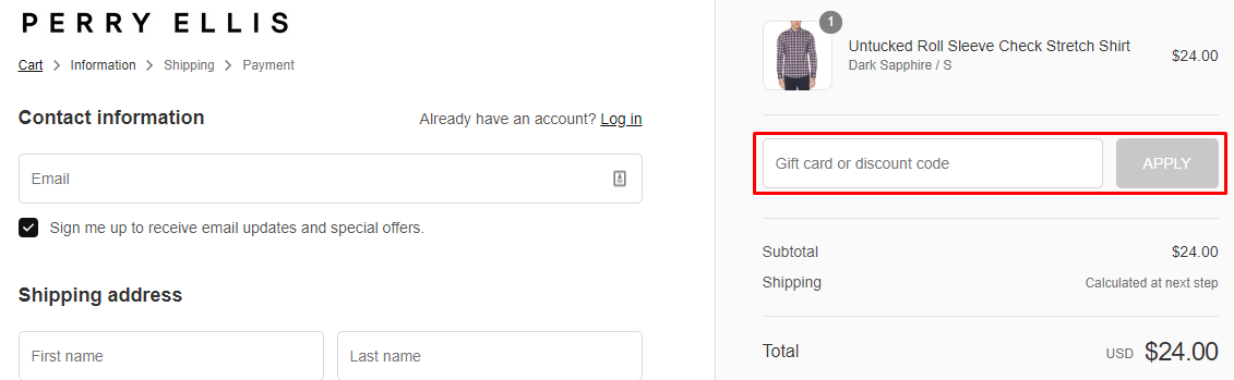 How do I use my Perry Ellis discount code?