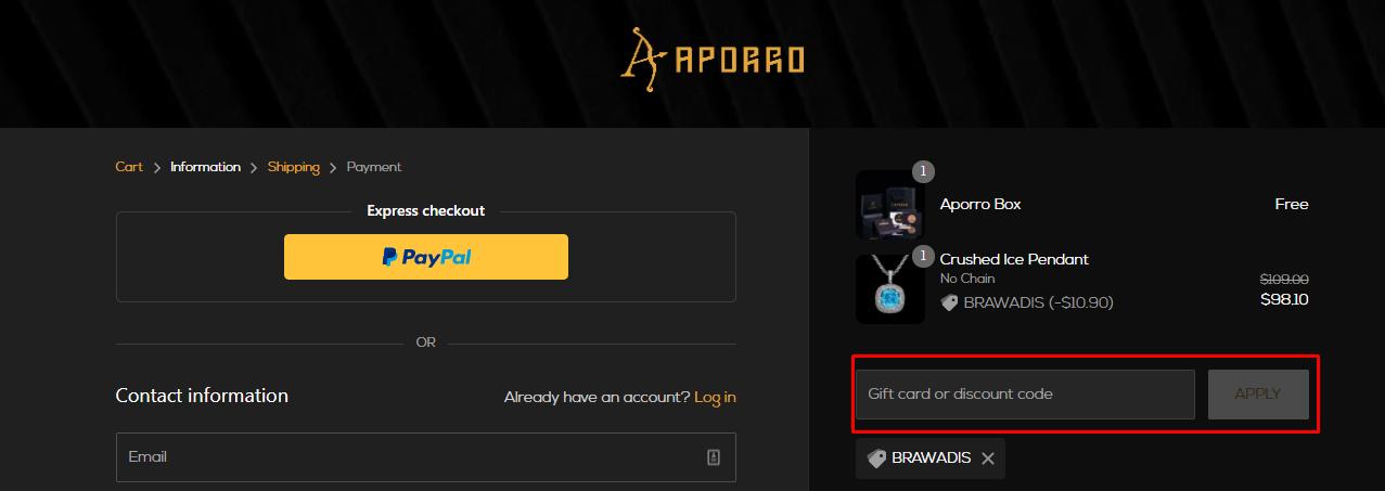How do I use my Aporro discount code?