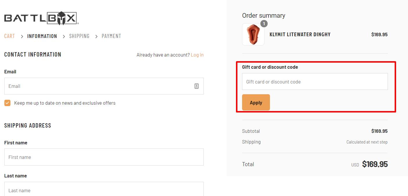 How do I use my BattlBox discount code?