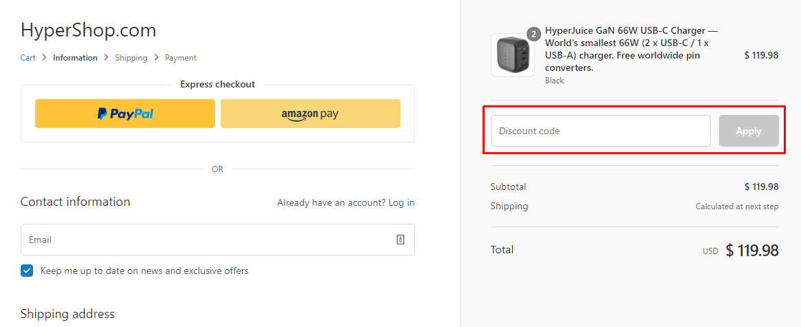 How do I use my Hyper discount code?