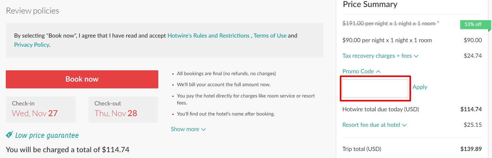 How do I use my Hotwire discount code?