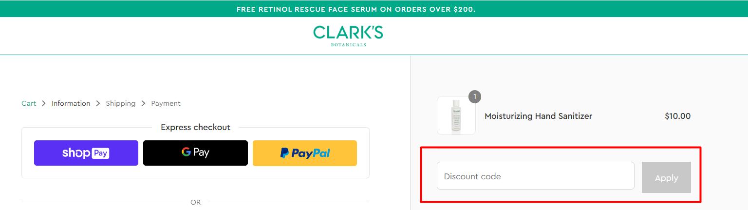 How do I use my Clark's Botanicals discount code?