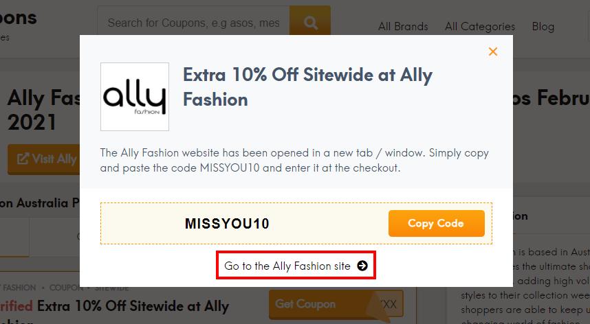 How do I use my Ally Fashion discount code?