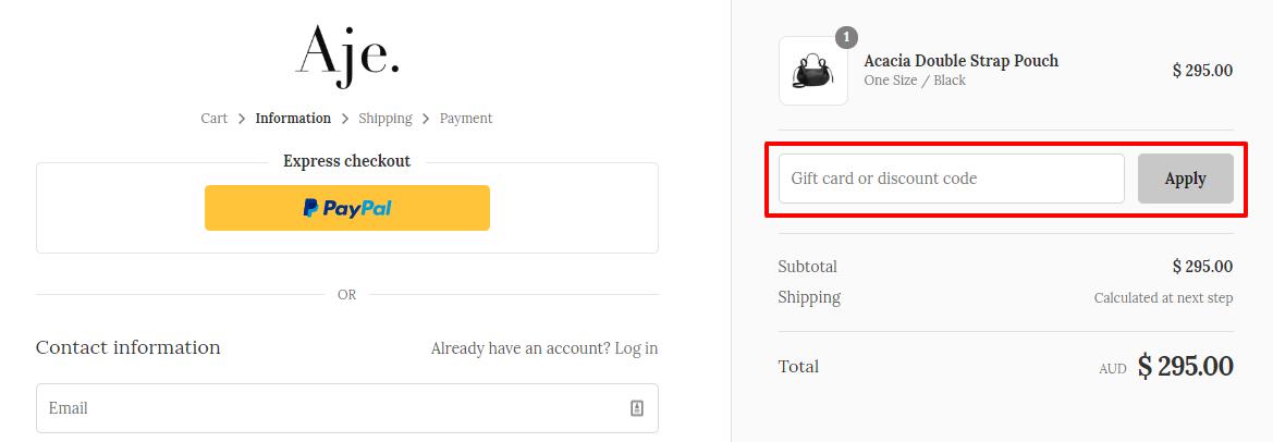 How do I use my Aje. discount code?