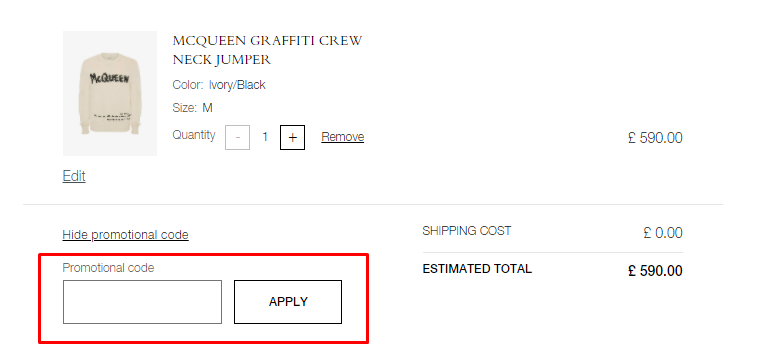 How do I use my Alexander McQueen promotional code?