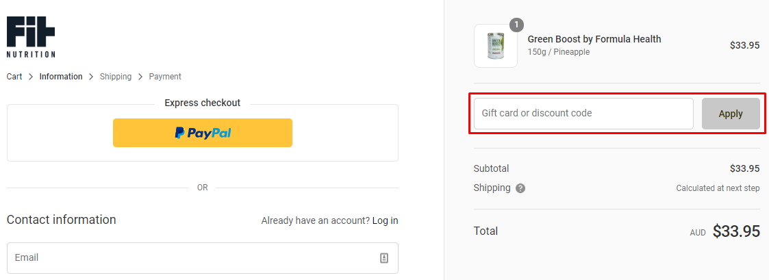 How do I use my Fit Nutrition discount code?