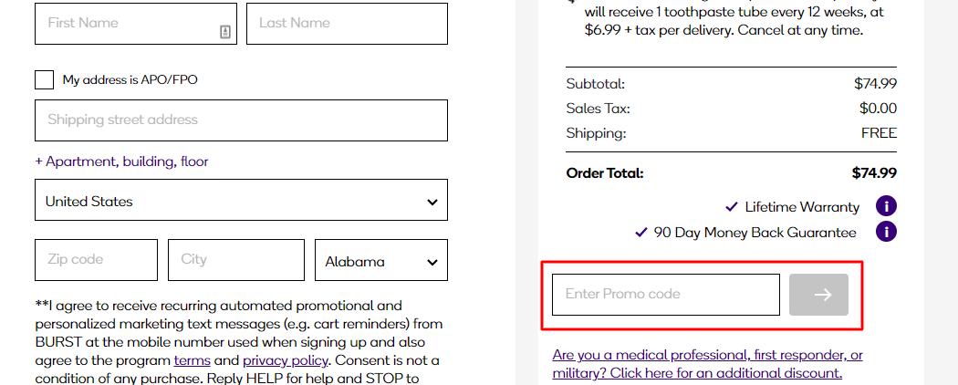 How do I use my burst promo code?