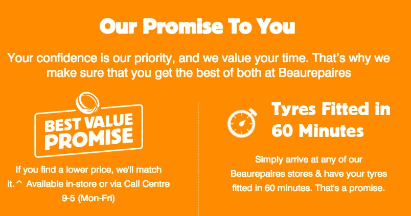 Beaurepaires Tyres promise