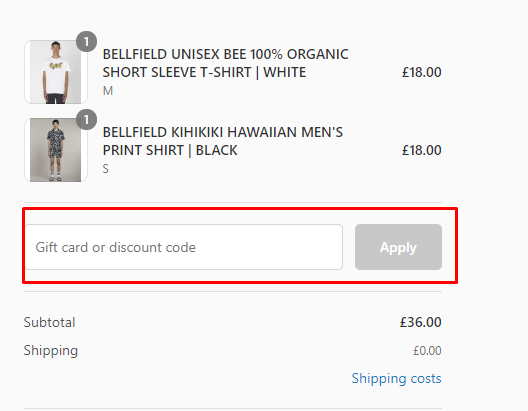 How do I use my Bellfield clothing discount code?