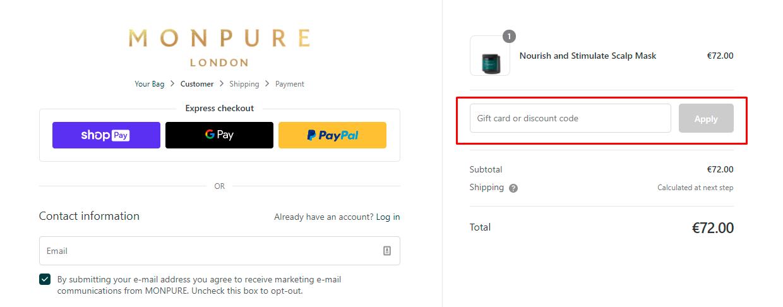 How do I use my Monpure discount code?