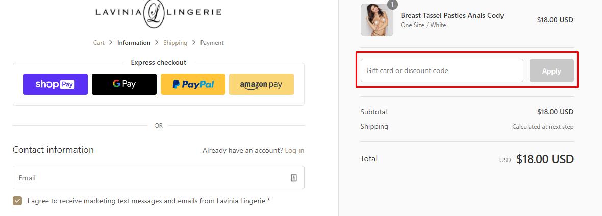 How do I use my Lavinia Lingerie discount code?