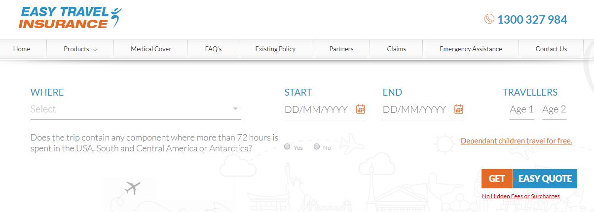 Easy Travel Insurance Homepage