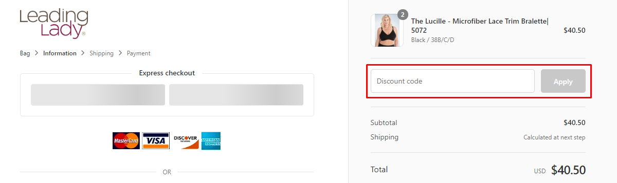 How do I use my Leading Lady Discount code?