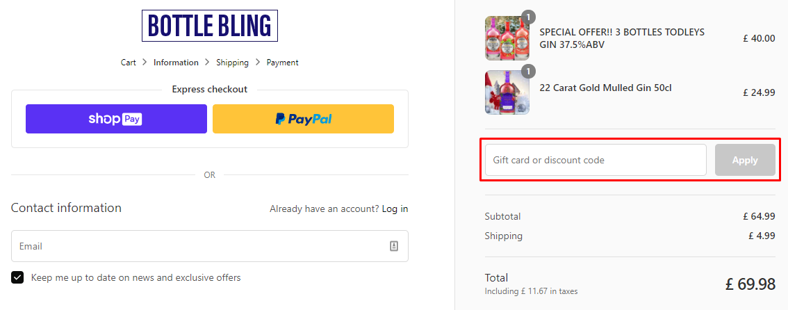 How do I use my Bottle Bling discount code?