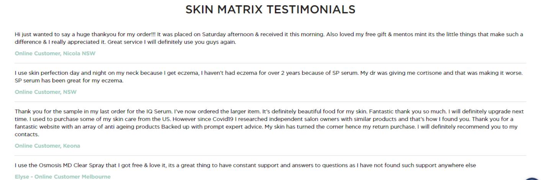 Skin Matrix Testimonials