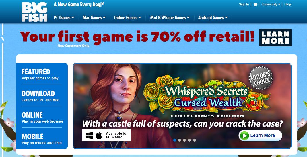 Big Fish Games Homepage
