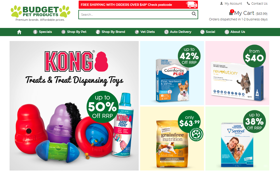 Budget Pet Products Homepage
