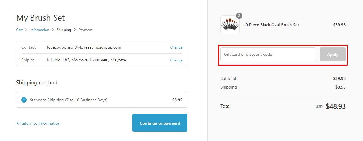 How do I use my Mymakeupbrushset discount code?