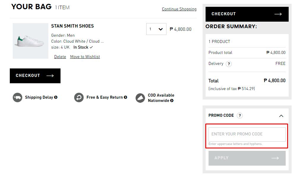 How do I use my Adidas promo code?