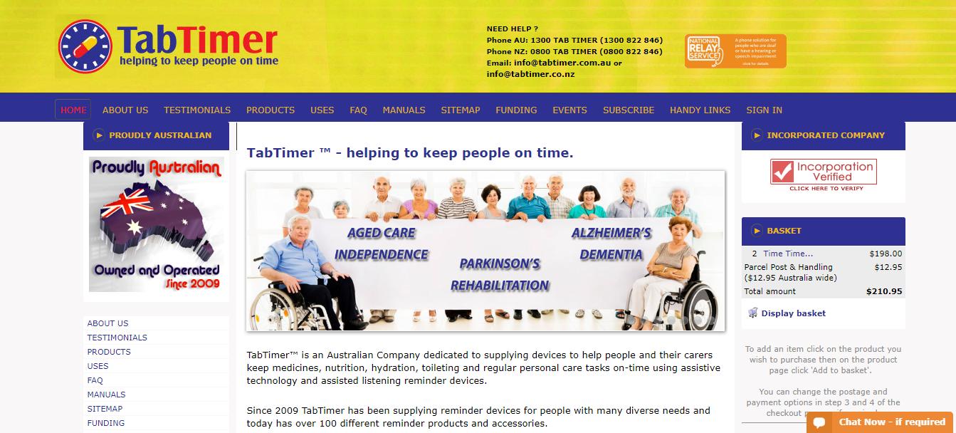 TabTimer Reminders Homepage