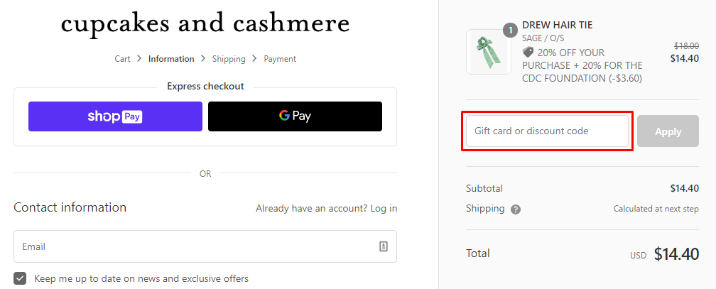 How do I use my Cupcakes and Cashmere coupon code?