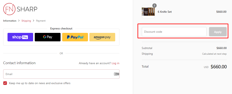 How do I use my F.N. Sharp discount code?