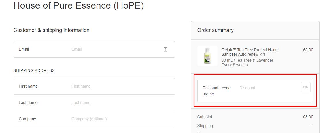 How do I use my HOPE discount code?