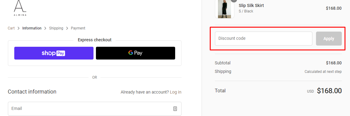 How do I use my Almina Concept discount code?