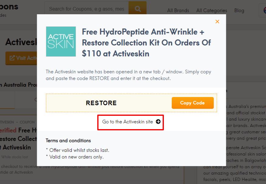 How do I use my Activeskin discount code?