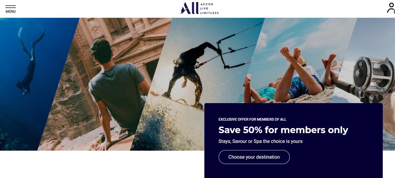 Accor Hotels Homepage