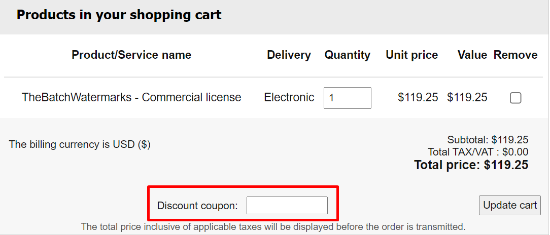 How do I use my Batch Watermark software discount code?
