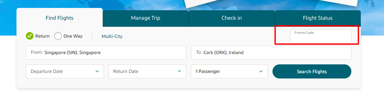 Aer Lingus MY Checkout