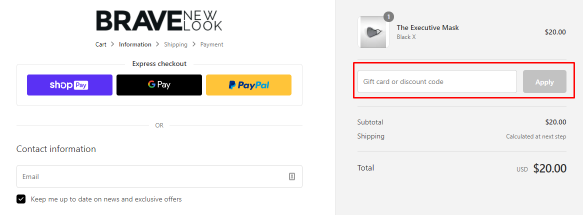 How do I use my Brave New Look discount code?