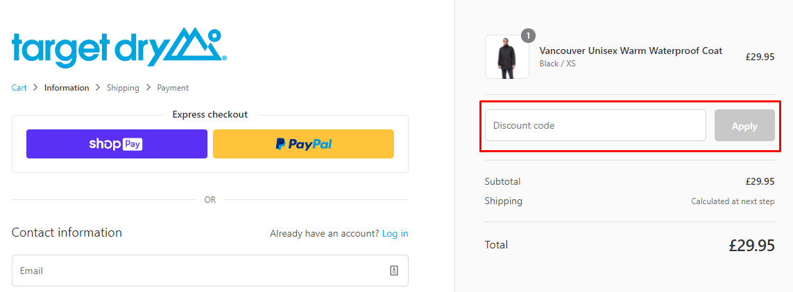 How do I use my Target Dry discount code?