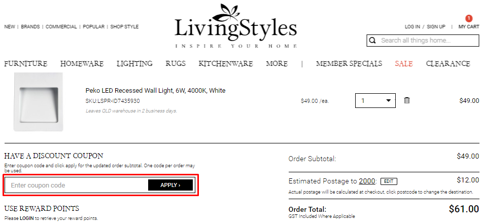 How do I use my LivingStyles discount code?