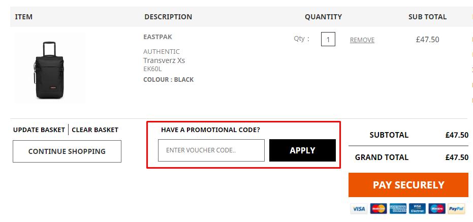 How do I use my Case Luggage promotional code?