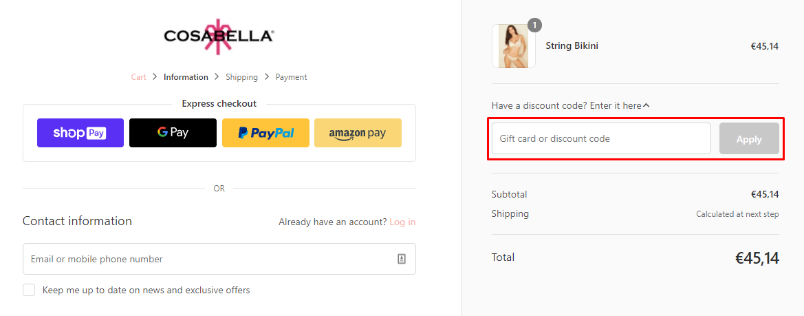 How do I use my Cosabella discount code?