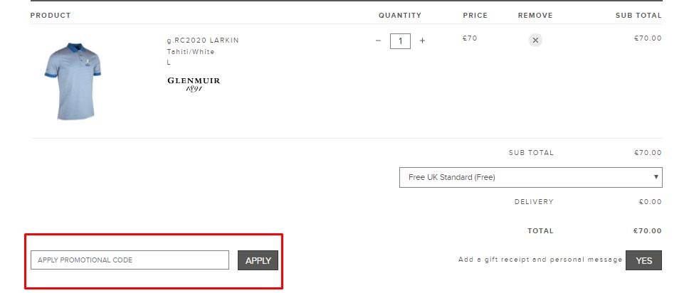 How do I use my Glenmuir discount code?