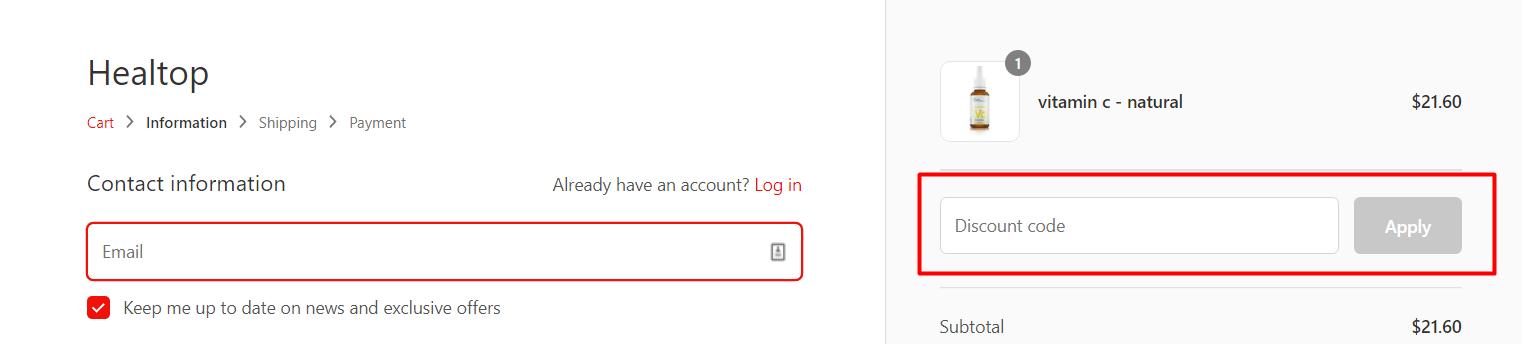 How do I use my healtop discount code?