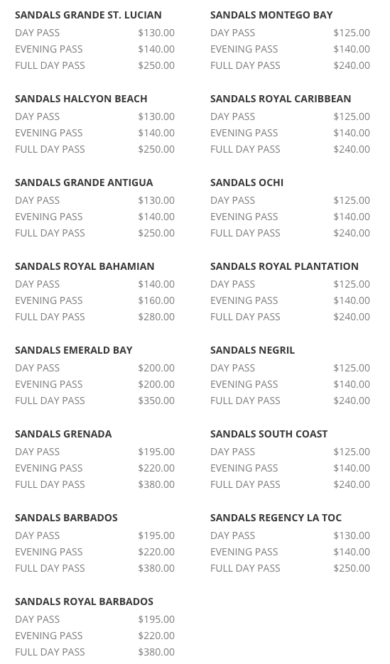 day passes sandals