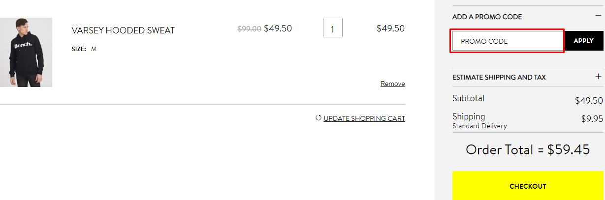 How do I use my Bench discount code?