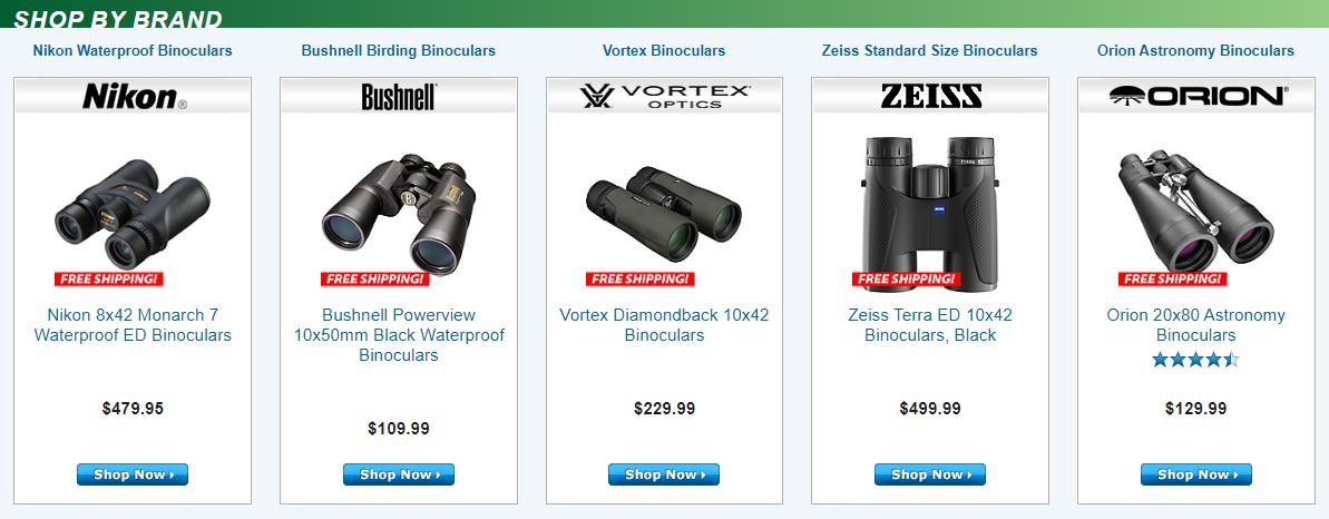 Brands at Binocular's