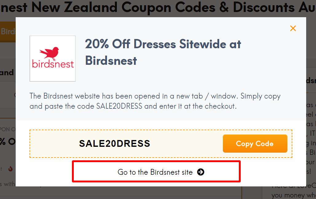Birdsnest coupon
